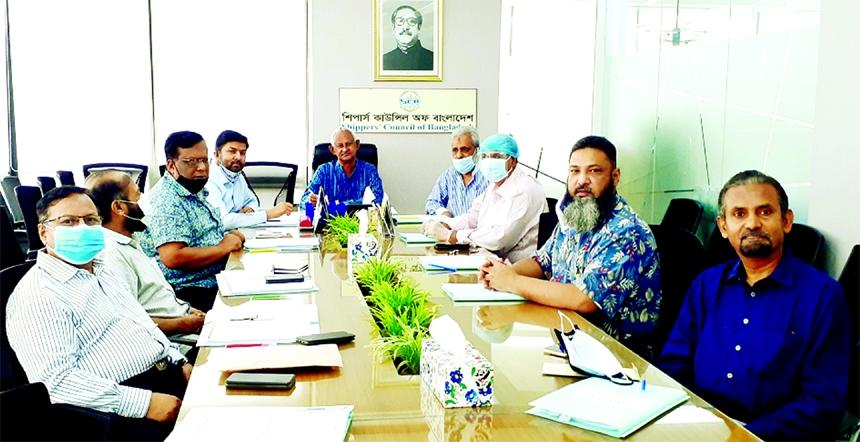 Md Rezaul Karim, Chairmanship of Shippers' Council of Bangladesh (SCB), presiding over the 7th Board of Directors' meeting at its corporate office's conference room at Dhanmondi in the city on Tuesday. Senior Vice Chairman Md Ariful Ahsan, Directors Arzu Rahman Bhuiyan, Kamran Uddin, A K M Aminul Mannan (Khokon), Syed Md Bakhtiar, Md Nurussafa Babu, Ziaul Islam and Ganesh Chandra Saha attended the board meeting.