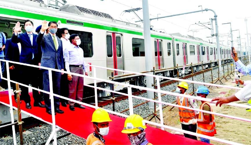Metro train makes short display trip