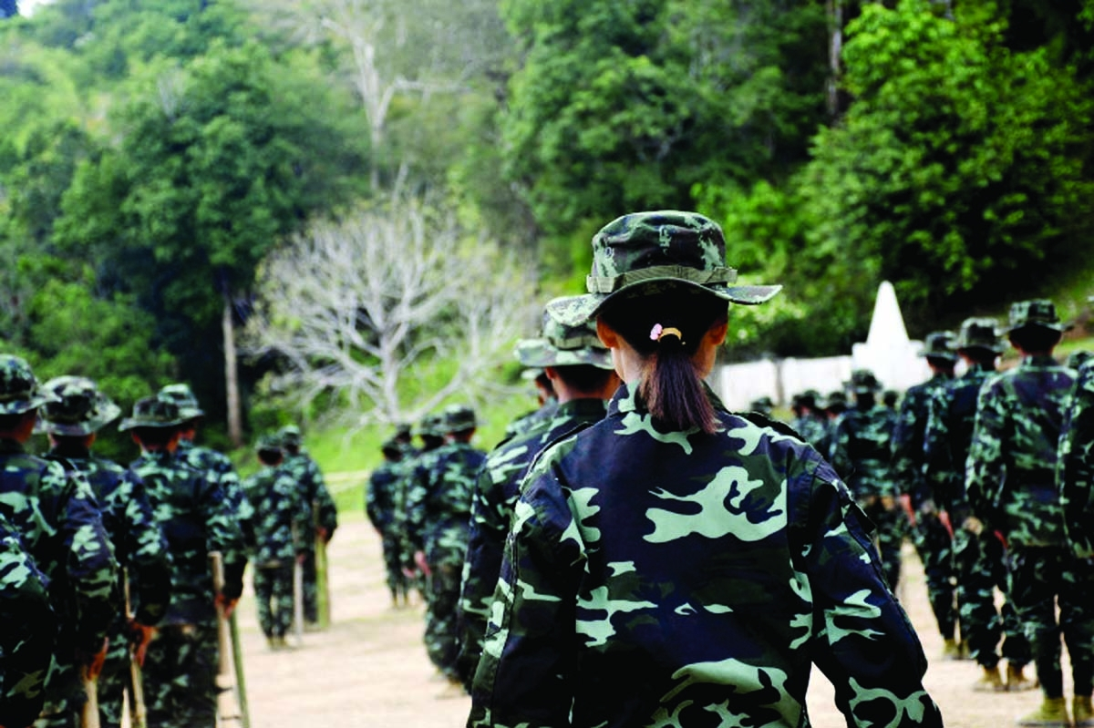 This handout photo from local media group Kantarawaddy Times taken on May 10, 2021 and released on June 4 shows military training conducted by the Karenni National Progressive Party (KNPP) ethnic rebel group in Kayah State [Kantarawaddy Times via AFP]