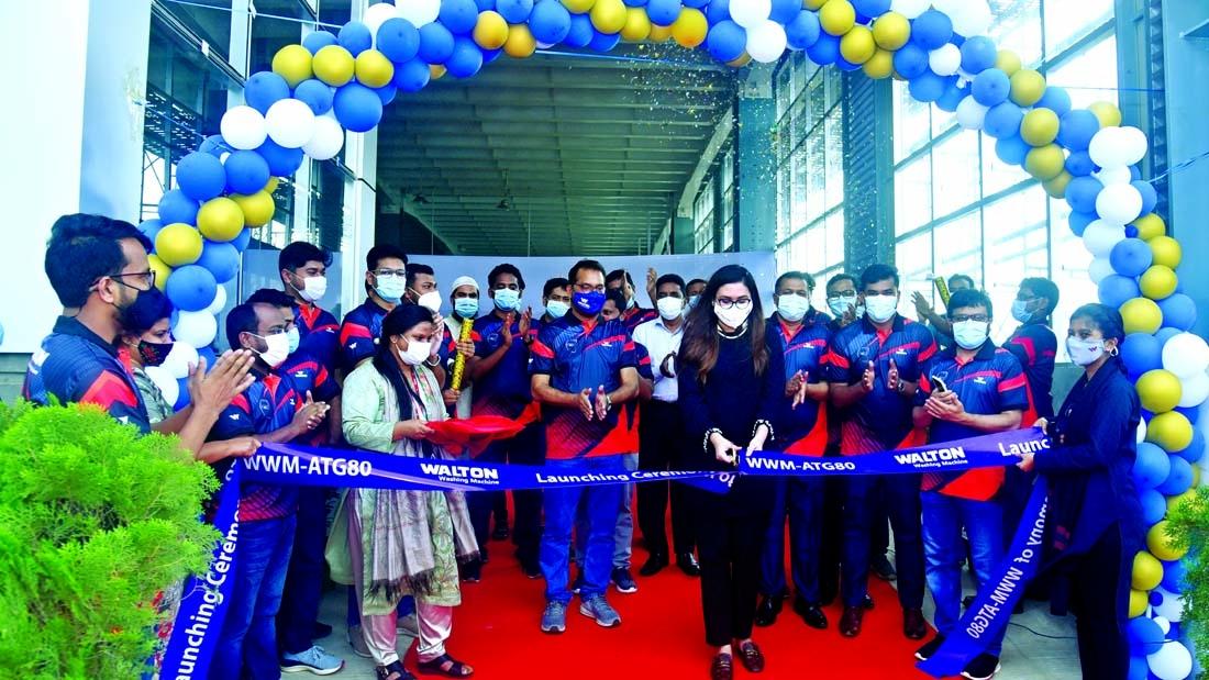 Walton Hi-Tech Industries Limited (WHIL) Director Tahmina Afrose Tanna inaugurates new production line of washing machine at Walton Hi-Tech Park in Chandra, Gazipur recently.