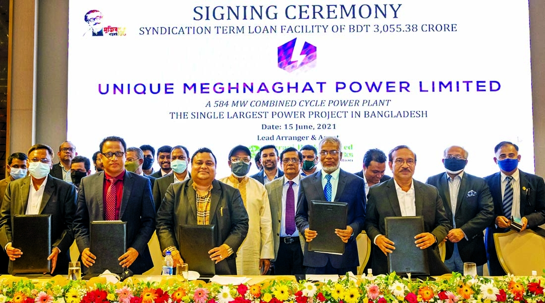 Agrani Bank Limited signed an agreement of 'Syndication Project Loan Facility Program' for a 584 MW Gas Fired Single Unit Combined Cycle Power Plant with Unique Meghnaghat Power Limited (UMPL) as lead arranger. Four state-owned commercial banks are also the partner. Agrani Bank's Chairman DR Zaid Bakht and Managing Directors of Sonali, Rupali and Janata Bank's were also present.