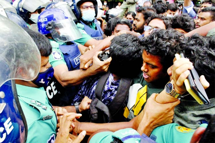 Police thwart a procession of left-leaning student organisations' march towards the Education Ministry on Wednesday demanding resumption of classes of all educational institutions.