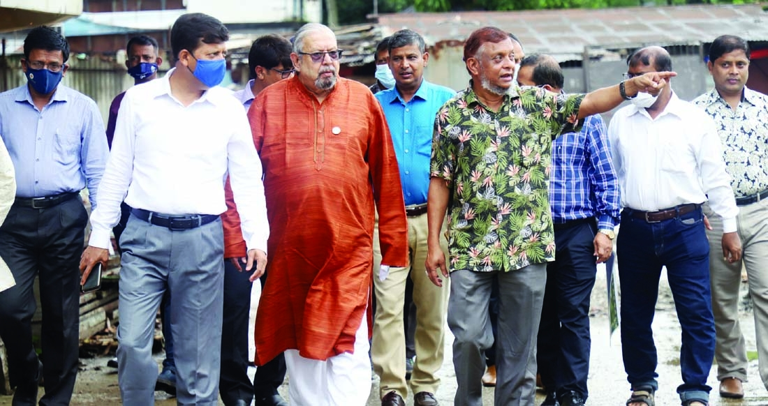 Sylhet city mayor Ariful Haque Chowdhury shows the development works of the city's Dhopadighi to Imran Ahmed, MP, Minister of Expatriates' Welfare and Overseas Employment on Monday.