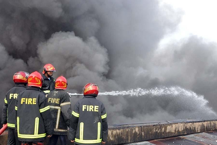 Fire at Motijheel car garage
