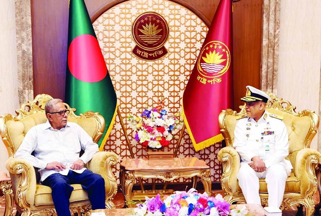 Acting Chief of Naval Staff Admiral Mohammad Abu Ashraf calls on President Md Abdul Hamid at Bangabhaban on Sunday.