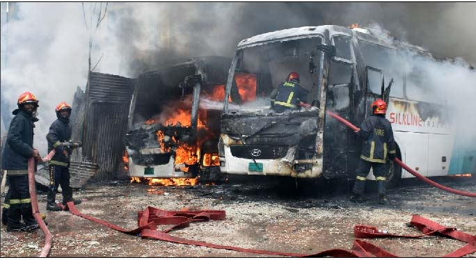 Mysterious fires ravage four buses