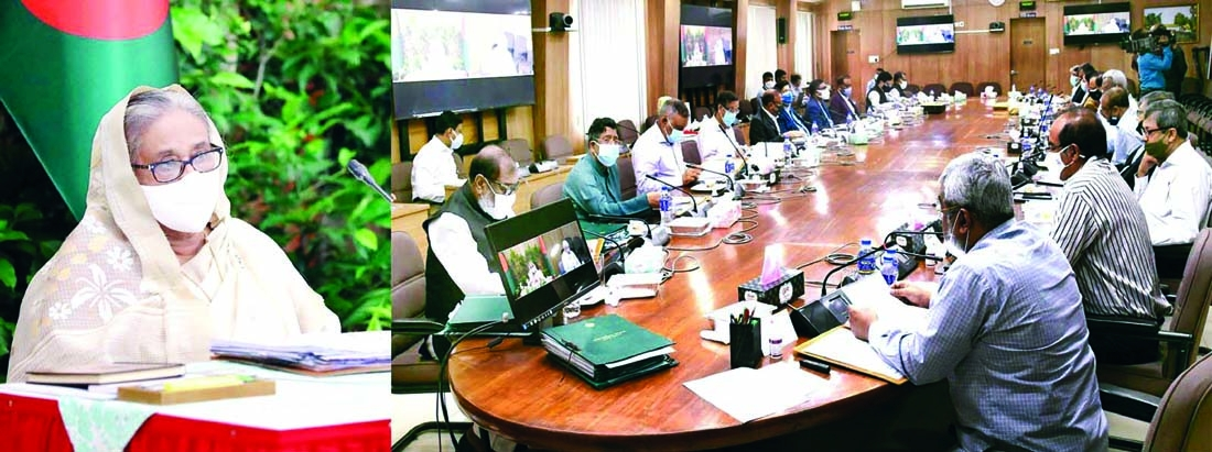 Prime Minister Sheikh Hasina presides over the Cabinet meeting held at the Secretariat through video conference from Ganobhaban on Monday.