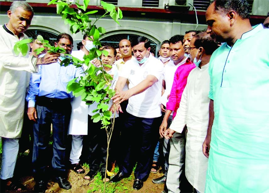 Adv. Mohammad Jahangir Alam, mayor of Gazipur City Corporation and Chairman, Governing body of Kazi Azimuddin University College, plants a sapling on the college campus on Monday while Principal of the college Harun-or-Rashid Hawladwer, other Governing body and teachers were present on the occasion.