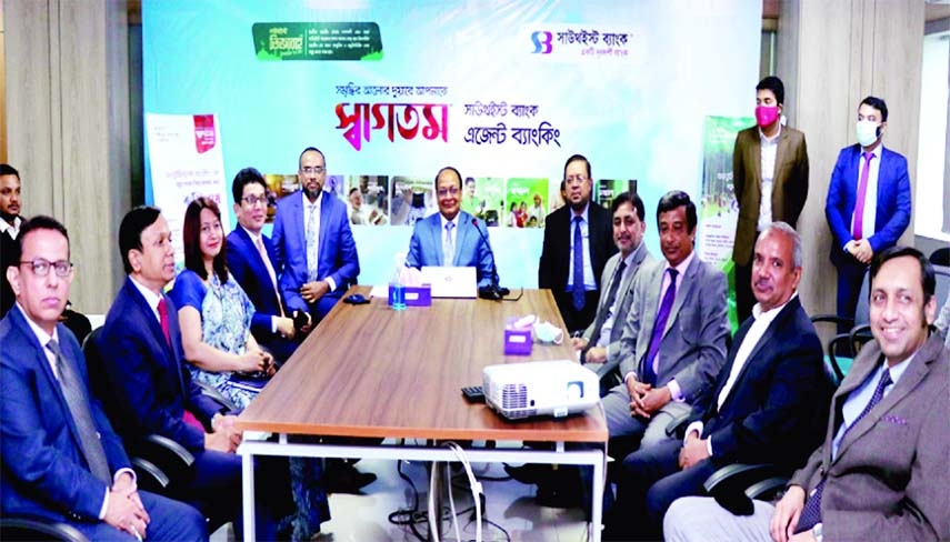 M Kamal Hossain, Managing Director of Southeast Bank Limited, inaugurating five agent banking outlets for formal operation at different parts of country through video conference from its head office recently.