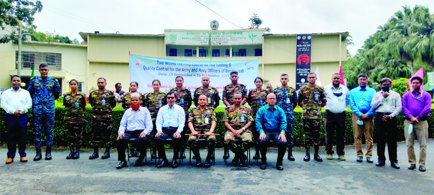 Major General Md  Ashraful Islam ndc, psc, Chairman,  Bangladesh Tea Board is seen with the participants at the inaugural session of a 2-week training course on 'Tea Testing & Quality control' organized for the navy and army offices of Bangladesh at Tea Board Training Institute in Srimangal on Sunday.
