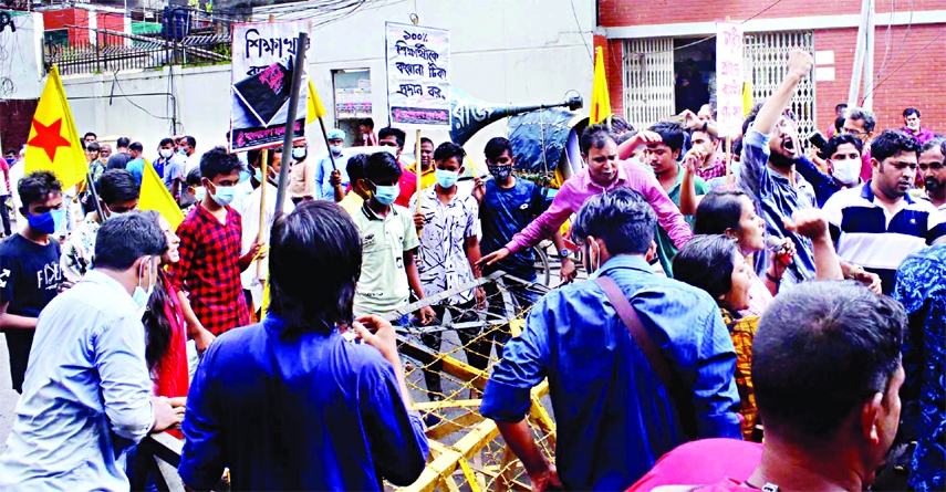 Police intercept a rally of Chhatra Moitri, a student wing of Bangladesh Workers Party  in front of the Secretariat on Sunday.