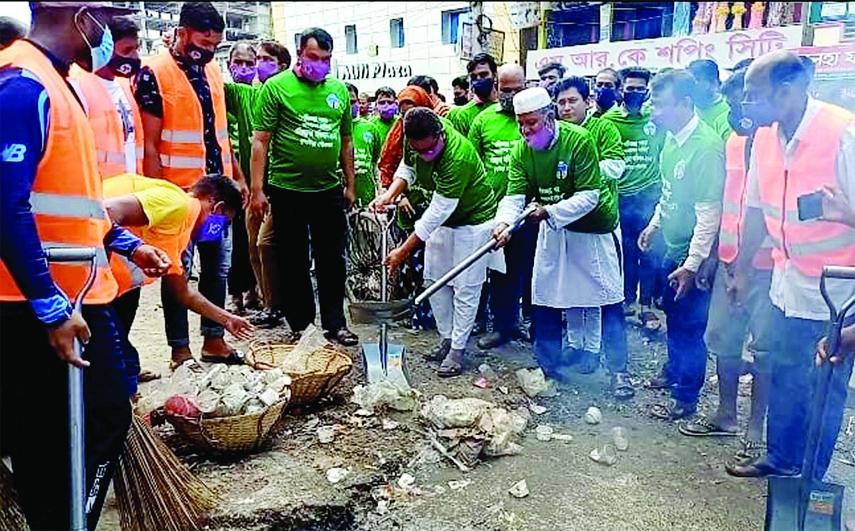 Kulaura Poura Mayor Principal Sipar Uddin Ahmad on Monday inaugurates a cleanliness program with slogan of
