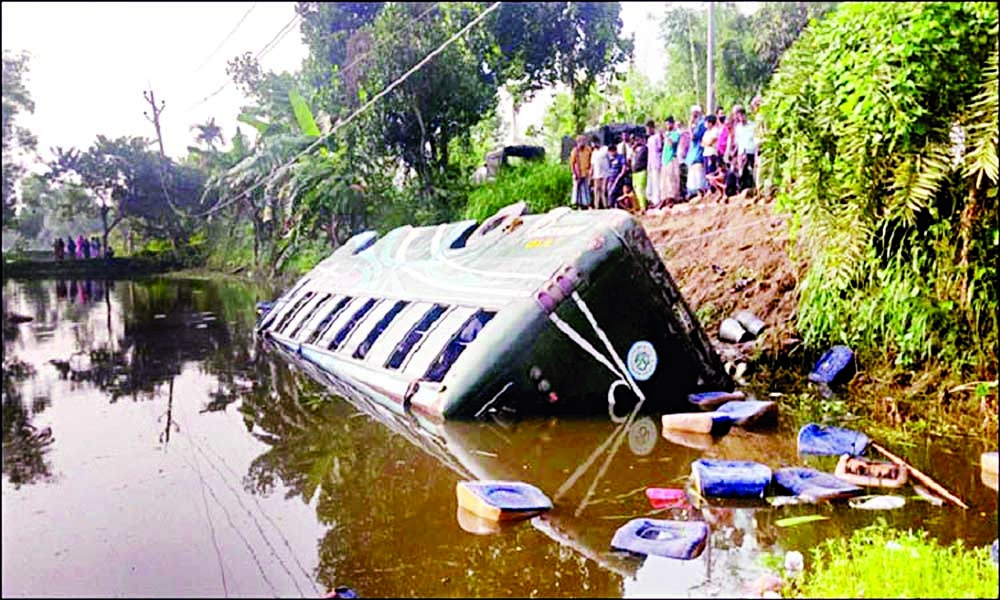 A passenger bus plunged into a roadside ditch at Kalihati area on Bhuapur-Tangail highway on Tuesday