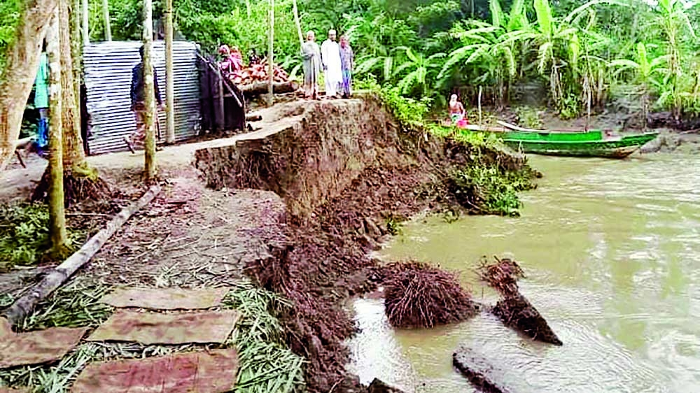 Households including mosques devoured by river erosion in Mirganj area of Babuganj upazila in Barishal on Tuesday.