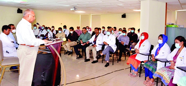 Chairman of Chattogram Imperial Hospital Dr. Rabiul Hossain speaks at a science seminar marking the World Aljemars Day held at Imperial Hospital on Tuesday.