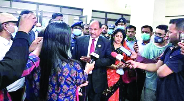 Railway Minister Nurul Islam Sujon speaks with the journalists regarding the CRB at the Chittagong Circuit House on Friday.