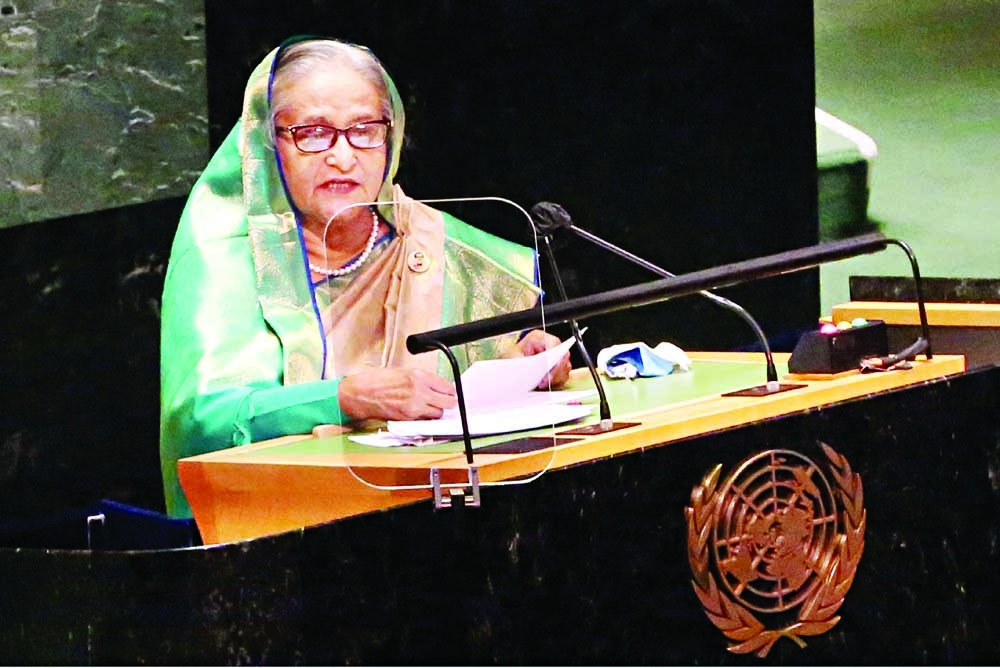 Prime Minister Sheikh Hasina addresses the 76th UNGA Session at the UN Headquarters in New York on Friday.
