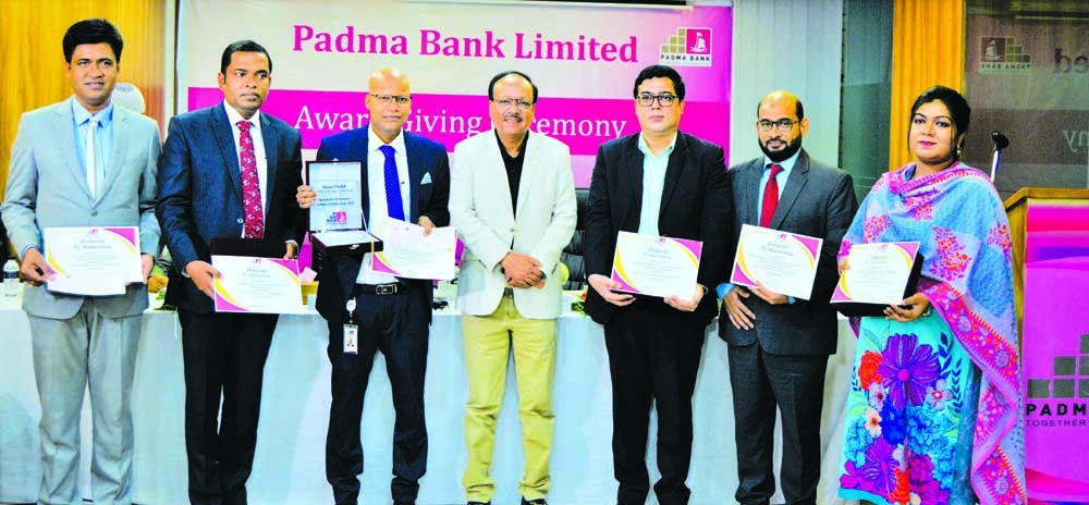 Padma Bank Limited has awarded 10 successful employees in the 'Account Opening Campaign'. In addition to the account opening, the best performers in deposit collection are also given crest, certificates, and award money in cheque. Faisal Ahsan Chowdhury, DMD, Zabed Amin, Chief Operating Officer, ATM Muzahidul Islam, Head of ICCD, Shariful Islam, CFO and Firoz Alam, SEVP of the bank were present at the award giving ceremony held at the bank' head office in the capital recently.