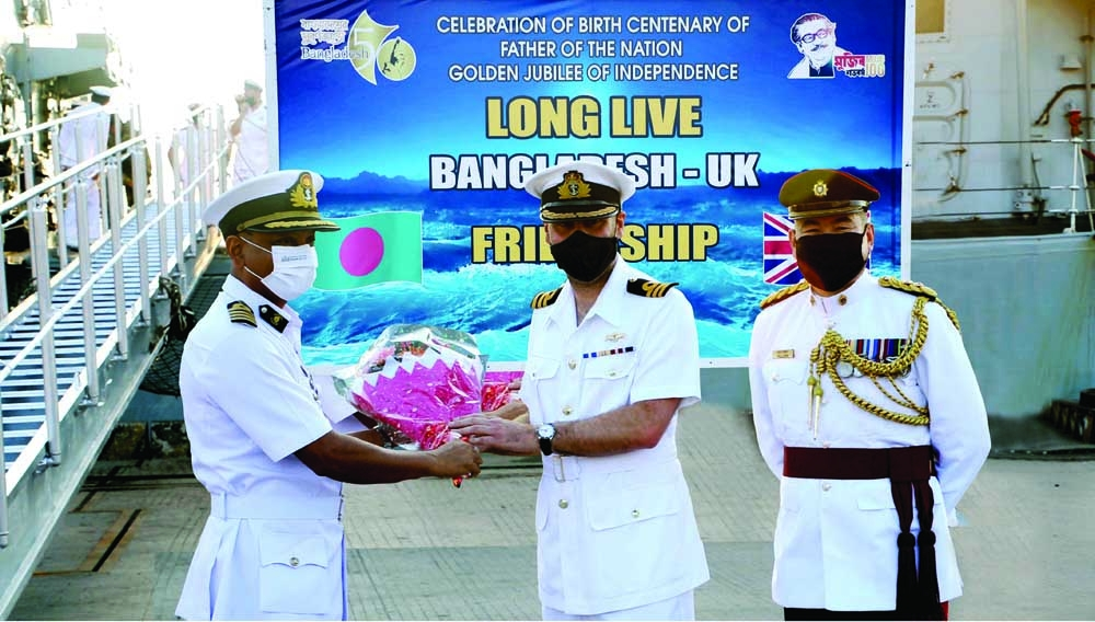 The Royal War Ship of the UK 'HMS Kest' reaches Chattogram jetty on 5-day greetings tour on Thursday. Commander of Chattogram Naval Area Chief Staff Officer Captain SM Moin Uddin welcomes captain of the ship Commander M J (Matt) Sikes RN.