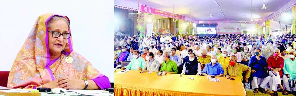 Prime Minister Sheikh Hasina exchanges greetings with people of the Hindu community at Dhakeshwari Mandir Puja Mondop from Ganabhaban through a videoconference on Thursday on the occasion of Durga Puja.
