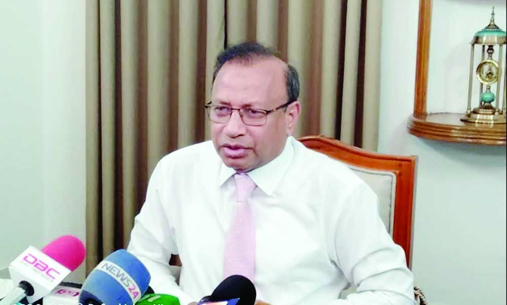 Local Government Minister Md Tajul Islam briefs to the journalists about the contemporary affairs at his official residence on Mintu Road in the capital on Friday