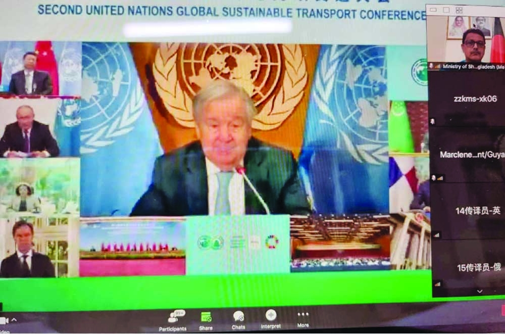 State Minister for Shipping Khalid Mahmud Chowdhury joins online with the world leaders at The Second United Nations Global Sustainable Transport Conference held Chinese capital Beijing.