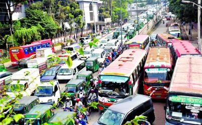 Hundreds of vehicles get clogged at Satrasta area in the capital on Wednesday despite no private transport day.