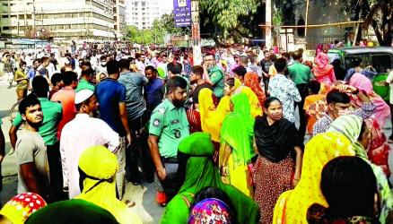 Workers of a readymade garment (RMG) factory stage a demonstration in the capital's Mirpur area on Saturday demanding payment of their arrears.